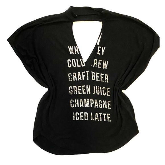 Express Tops - Express Dolman Sleeve Black Drink Teeshirt sz S